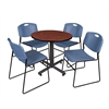 """Kobe 30"""" Round Breakroom Table- Cherry & 4 Zeng Stack Chairs- Blue"""