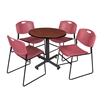 "Kobe 30"" Round Breakroom Table- Cherry & 4 Zeng Stack Chairs- Burgundy"
