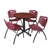 "Kobe 30"" Round Breakroom Table- Cherry & 4 'M' Stack Chairs- Burgundy"