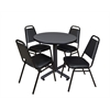 "Kobe 30"" Round Breakroom Table- Grey & 4 Restaurant Stack Chairs- Black"