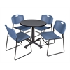 "Kobe 30"" Round Breakroom Table- Grey & 4 Zeng Stack Chairs- Blue"
