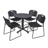 "Kobe 30"" Round Breakroom Table- Grey & 4 Zeng Stack Chairs- Black"