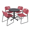 "Kobe 30"" Round Breakroom Table- Grey & 4 Zeng Stack Chairs- Burgundy"