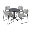 "Kobe 30"" Round Breakroom Table- Grey & 4 Zeng Stack Chairs- Grey"