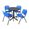 "Kobe 30"" Round Breakroom Table- Grey & 4 'M' Stack Chairs- Blue"