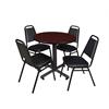 "Kobe 30"" Round Breakroom Table- Mahogany & 4 Restaurant Stack Chairs- Black"
