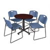 "Kobe 30"" Round Breakroom Table- Mahogany & 4 Zeng Stack Chairs- Blue"