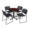 "Kobe 30"" Round Breakroom Table- Mahogany & 4 Zeng Stack Chairs- Black"