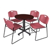 "Kobe 30"" Round Breakroom Table- Mahogany & 4 Zeng Stack Chairs- Burgundy"