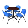 "Kobe 30"" Round Breakroom Table- Mahogany & 4 'M' Stack Chairs- Blue"