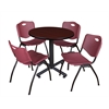 "Kobe 30"" Round Breakroom Table- Mahogany & 4 'M' Stack Chairs- Burgundy"