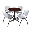"Kobe 30"" Round Breakroom Table- Mahogany & 4 'M' Stack Chairs- Grey"
