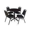 "Kobe 30"" Round Breakroom Table- Mocha Walnut  & 4 Restaurant Stack Chairs- Black"