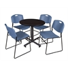 "Kobe 30"" Round Breakroom Table- Mocha Walnut  & 4 Zeng Stack Chairs- Blue"
