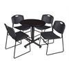 "Kobe 30"" Round Breakroom Table- Mocha Walnut  & 4 Zeng Stack Chairs- Black"