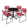 "Kobe 30"" Round Breakroom Table- Mocha Walnut  & 4 Zeng Stack Chairs- Burgundy"