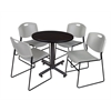 "Kobe 30"" Round Breakroom Table- Mocha Walnut  & 4 Zeng Stack Chairs- Grey"