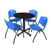 "Kobe 30"" Round Breakroom Table- Mocha Walnut  & 4 'M' Stack Chairs- Blue"