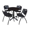 "Kobe 30"" Round Breakroom Table- Mocha Walnut  & 4 'M' Stack Chairs- Black"