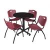 "Kobe 30"" Round Breakroom Table- Mocha Walnut  & 4 'M' Stack Chairs- Burgundy"