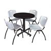 "Kobe 30"" Round Breakroom Table- Mocha Walnut  & 4 'M' Stack Chairs- Grey"