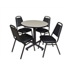 "Kobe 30"" Round Breakroom Table- Maple & 4 Restaurant Stack Chairs- Black"
