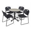 "Kobe 30"" Round Breakroom Table- Maple & 4 Zeng Stack Chairs- Black"