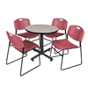 """Kobe 30"""" Round Breakroom Table- Maple & 4 Zeng Stack Chairs- Burgundy"""