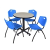 """Kobe 30"""" Round Breakroom Table- Maple & 4 'M' Stack Chairs- Blue"""