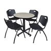 """Kobe 30"""" Round Breakroom Table- Maple & 4 'M' Stack Chairs- Black"""