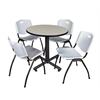 """Kobe 30"""" Round Breakroom Table- Maple & 4 'M' Stack Chairs- Grey"""