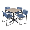 "Kobe 36"" Square Breakroom Table- Beige & 4 Zeng Stack Chairs- Blue"