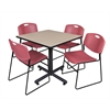 "Kobe 36"" Square Breakroom Table- Beige & 4 Zeng Stack Chairs- Burgundy"