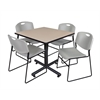 "Kobe 36"" Square Breakroom Table- Beige & 4 Zeng Stack Chairs- Grey"