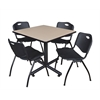 "Kobe 36"" Square Breakroom Table- Beige & 4 'M' Stack Chairs- Black"