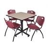 "Kobe 36"" Square Breakroom Table- Beige & 4 'M' Stack Chairs- Burgundy"