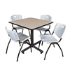 "Kobe 36"" Square Breakroom Table- Beige & 4 'M' Stack Chairs- Grey"