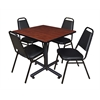 "Kobe 36"" Square Breakroom Table- Cherry & 4 Restaurant Stack Chairs- Black"