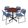 """Kobe 36"""" Square Breakroom Table- Cherry & 4 Zeng Stack Chairs- Blue"""