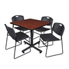 "Kobe 36"" Square Breakroom Table- Cherry & 4 Zeng Stack Chairs- Black"