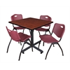 """Kobe 36"""" Square Breakroom Table- Cherry & 4 'M' Stack Chairs- Burgundy"""