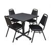 "Kobe 36"" Square Breakroom Table- Grey & 4 Restaurant Stack Chairs- Black"