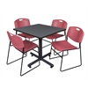 "Kobe 36"" Square Breakroom Table- Grey & 4 Zeng Stack Chairs- Burgundy"