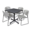 "Kobe 36"" Square Breakroom Table- Grey & 4 Zeng Stack Chairs- Grey"