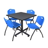 "Kobe 36"" Square Breakroom Table- Grey & 4 'M' Stack Chairs- Blue"