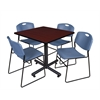 "Kobe 36"" Square Breakroom Table- Mahogany & 4 Zeng Stack Chairs- Blue"