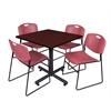 "Kobe 36"" Square Breakroom Table- Mahogany & 4 Zeng Stack Chairs- Burgundy"