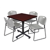 "Kobe 36"" Square Breakroom Table- Mahogany & 4 Zeng Stack Chairs- Grey"