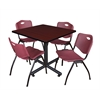 "Kobe 36"" Square Breakroom Table- Mahogany & 4 'M' Stack Chairs- Burgundy"