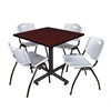 "Kobe 36"" Square Breakroom Table- Mahogany & 4 'M' Stack Chairs- Grey"